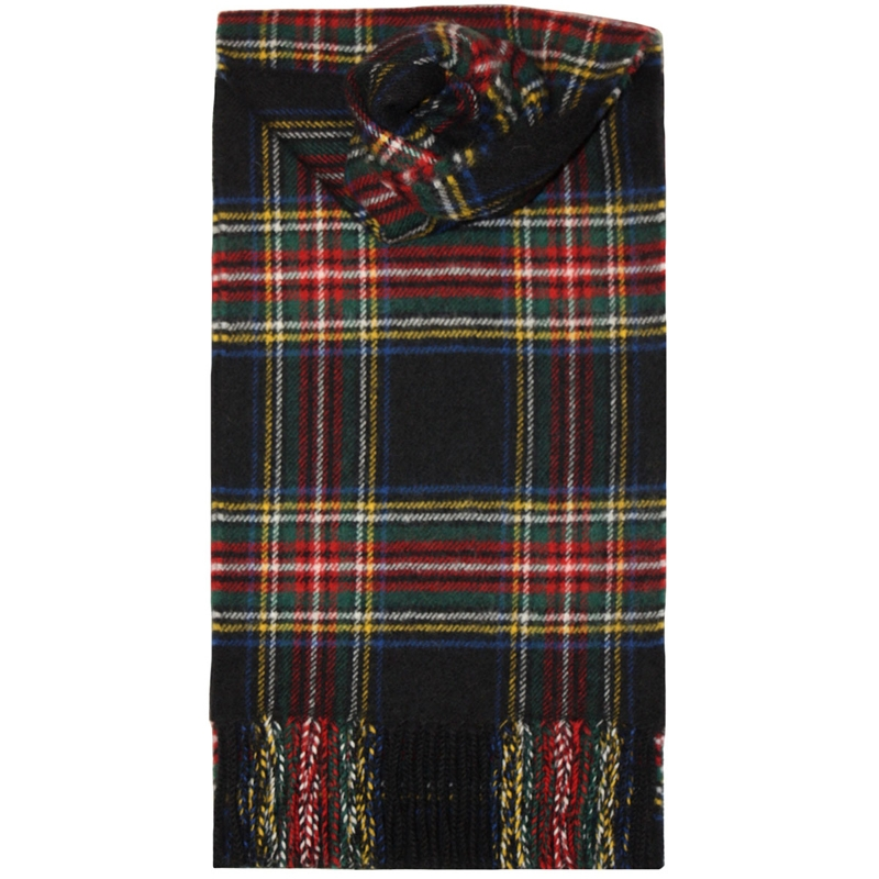 Brushed Wool Tartan Scarf in Stewart Black Modern