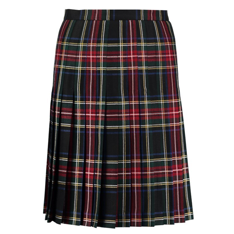 Stewart Black Tartan All Round Pleated Skirt