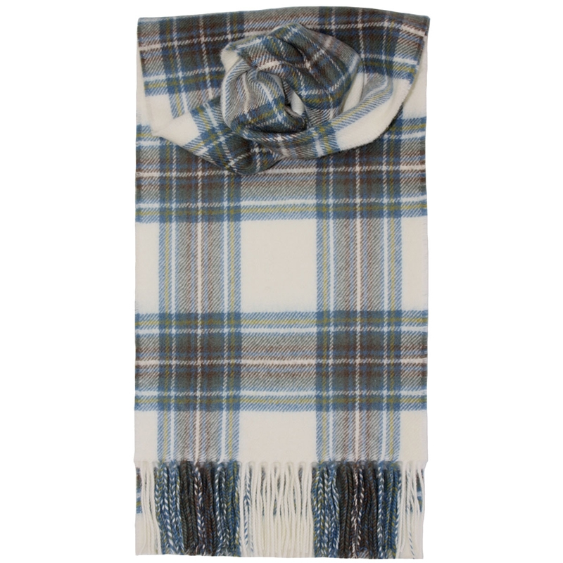 Brushed Wool Tartan Scarf in Stewart Blue Dress