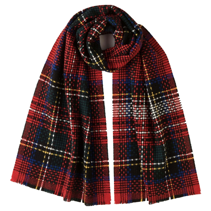 Exploded Tartan Cashmere Scarf in Stewart Royal