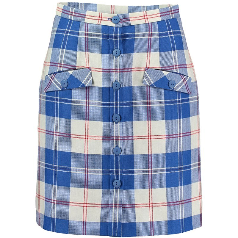 Tartan Button Through Skirt