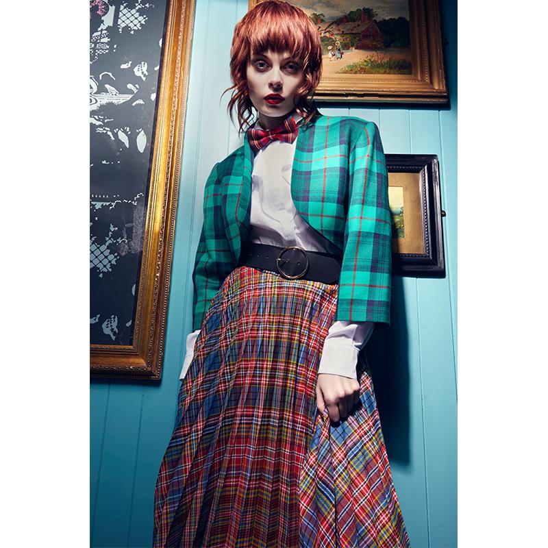 Tartan Fine Pleat Skirt