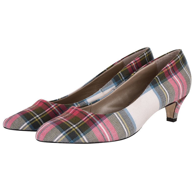 Tartan Kitten Heels in Stewart Dress Weathered