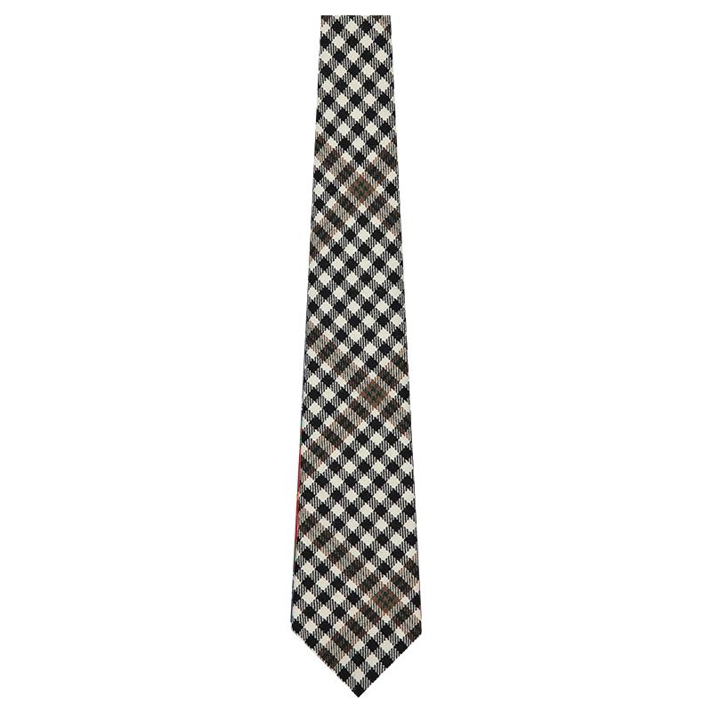Navy Blue /& Dark Green Check Tie Tweed Tartan Plaid