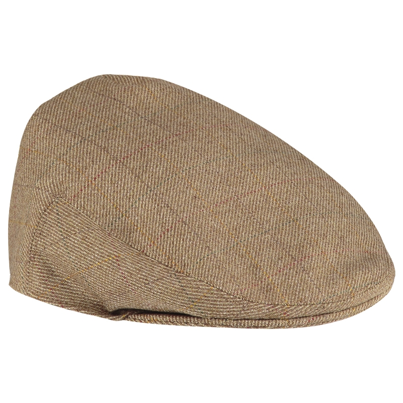 Tweed Flat Cap in Teviot Light Brown Tweed Check 952