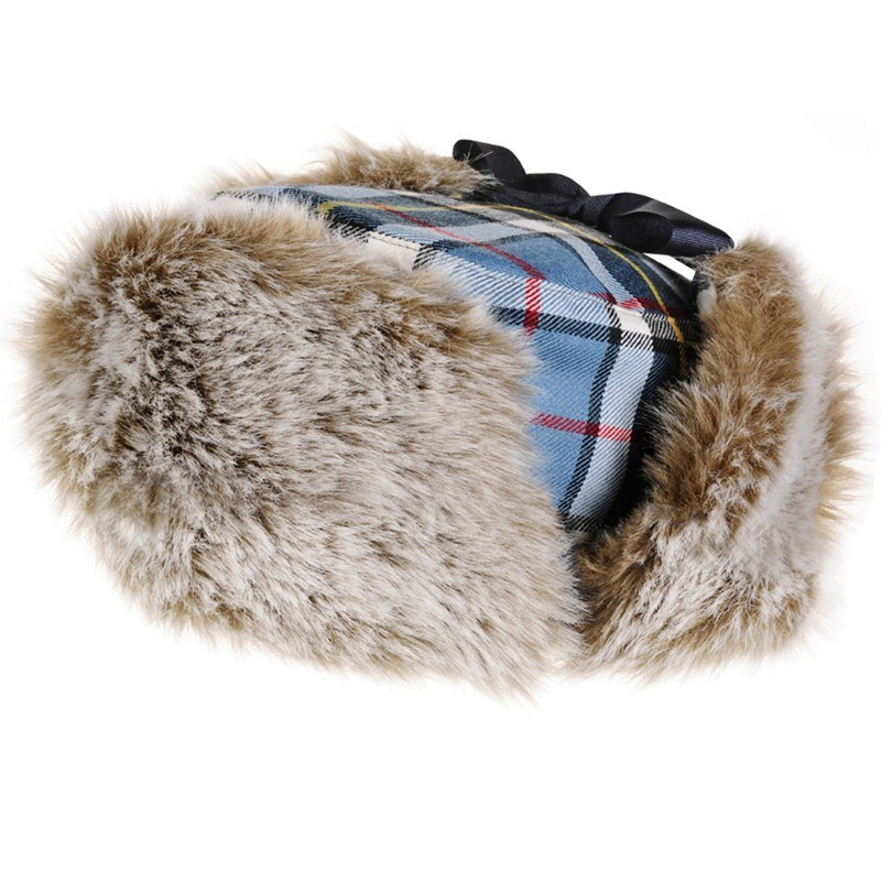 Thompson Blue Childrens Tartan Trapper Hat 1