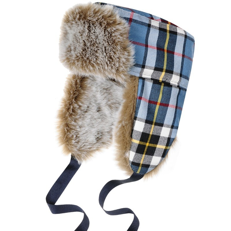 Thompson Blue Modern Childrens Tartan Trapper Hat