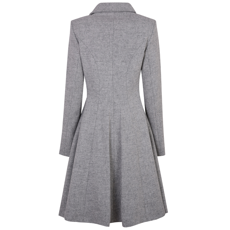 Tweed Kate Coat Back Seagull Silver Che227