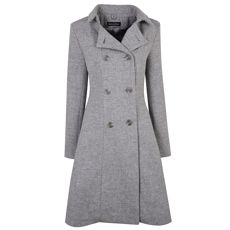 The Kate Coat in Tweed in Cheviot Seagull and Silver (CHE227)
