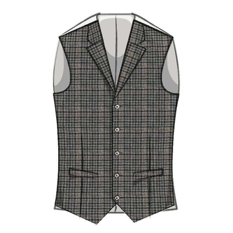 Herrenweste aus schottenstoff mit revers in Kirkton Grey Tweed Check 580