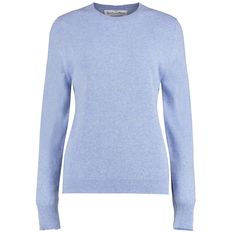 Women's Round Neck Lambswool Sweater in Glacier