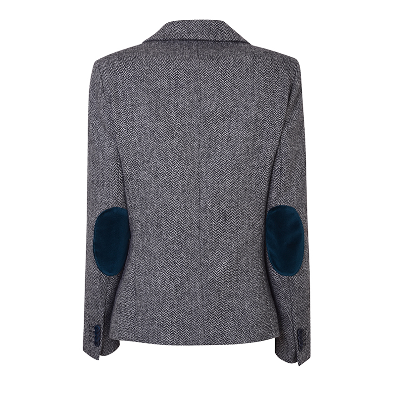 Womens Tweed Velvet Jacket Back