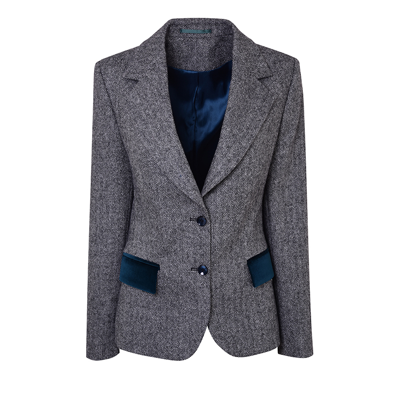 Women's Tweed and Velvet Jacket 2 Button Fastening in Cheviot Crag and White (CHE172)
