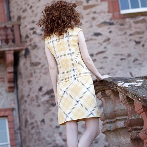 Ailsa Yellow Tartan Shift Dress Back