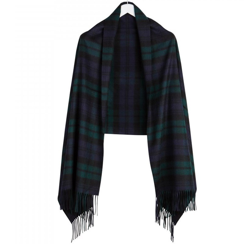 Luxurious Tartan Cashmere Stole in Black Watch Modern