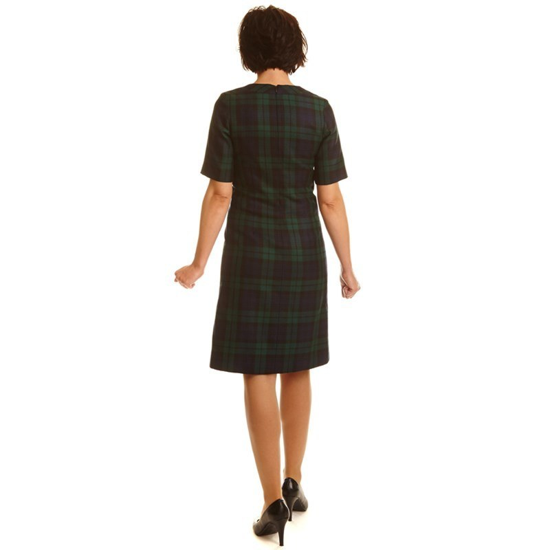 Black Watch Modern Round Neck Tartan Dress Back