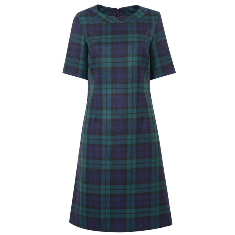 Black Watch Modern Round Neck Tartan Dress