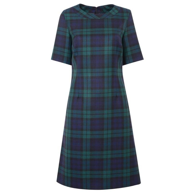 Round Neck Tartan Dress