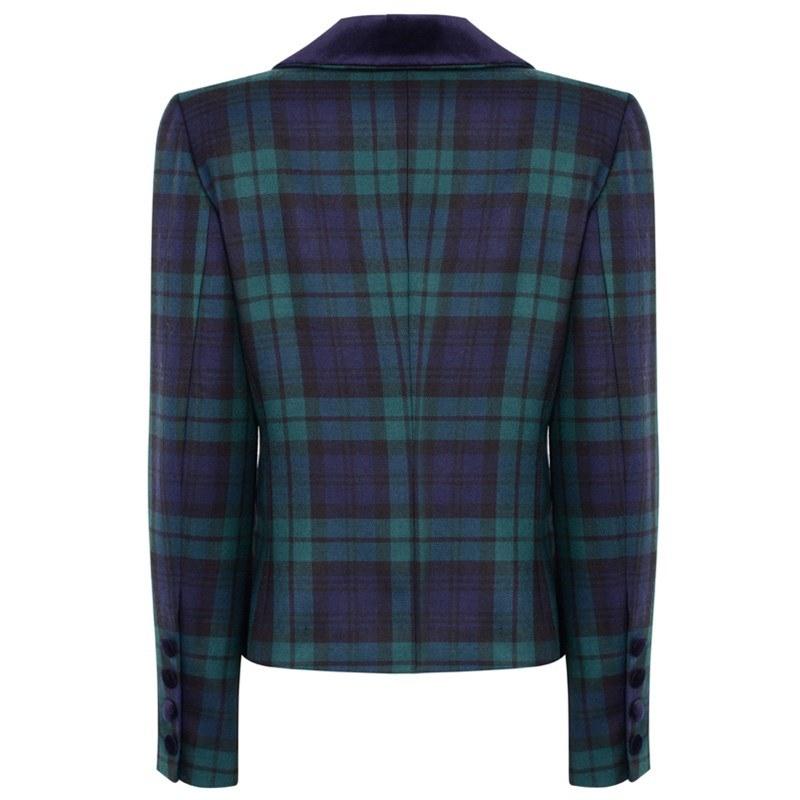 Black Watch Modern Velvet Trim Tartan Jacket Back