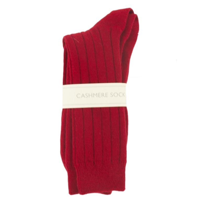 Men's Cashmere Socks in Cardinal Red
