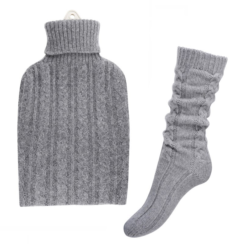 Cashmere Hot Water Bottle Cover and Bed Socks Set in Flannel Grey