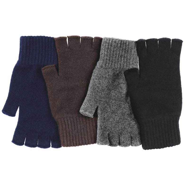 Mens Cashmere Fingerless Gloves