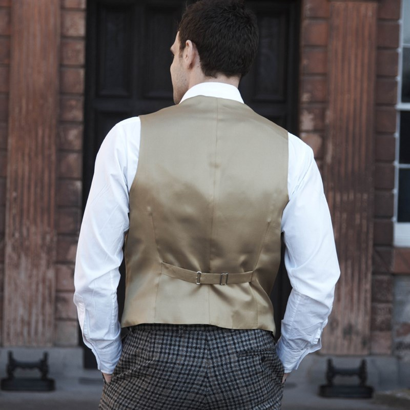 Mens Tweed Waistcoat Back