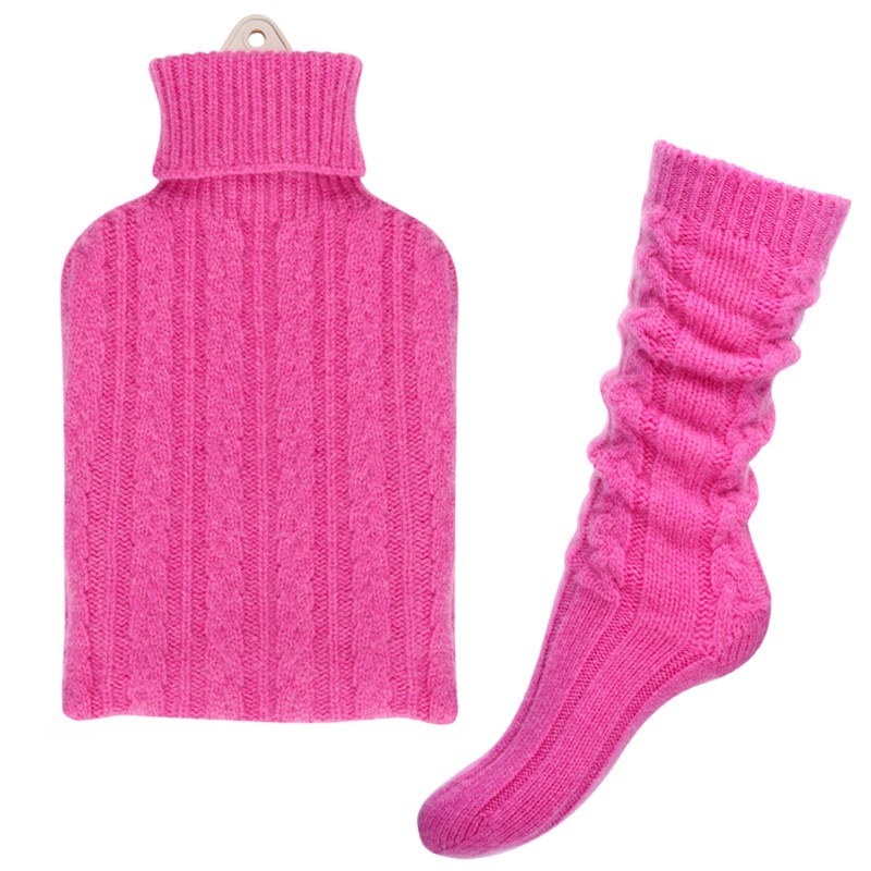 Cashmere Hot Water Bottle Cover and Bed Socks Set in Infra Pink