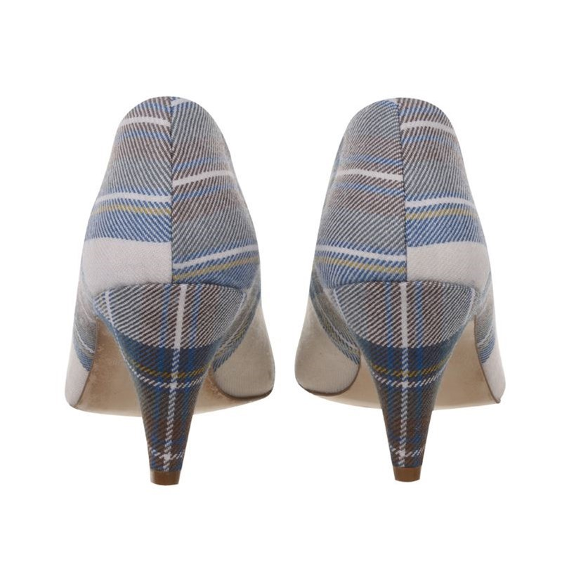 Stewart Blue Dress Tartan Peep Shoes Heels