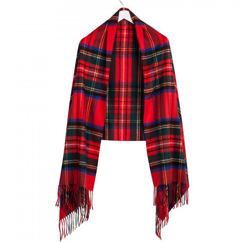 Luxurious Tartan Cashmere Stole in Stewart Royal