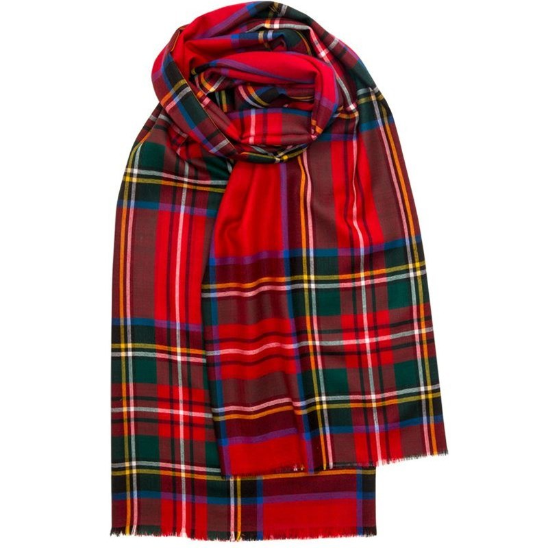 Spring Collection - Fine Wool Plaid Stole in Stewart Royal