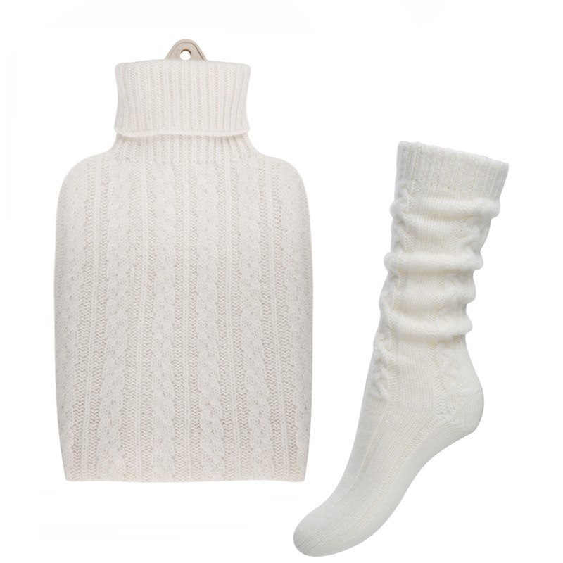 Cashmere Hot Water Bottle Cover and Bed Socks Set in White