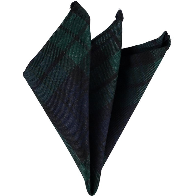 Plaid Wool Pocket Square in Black Watch Modern